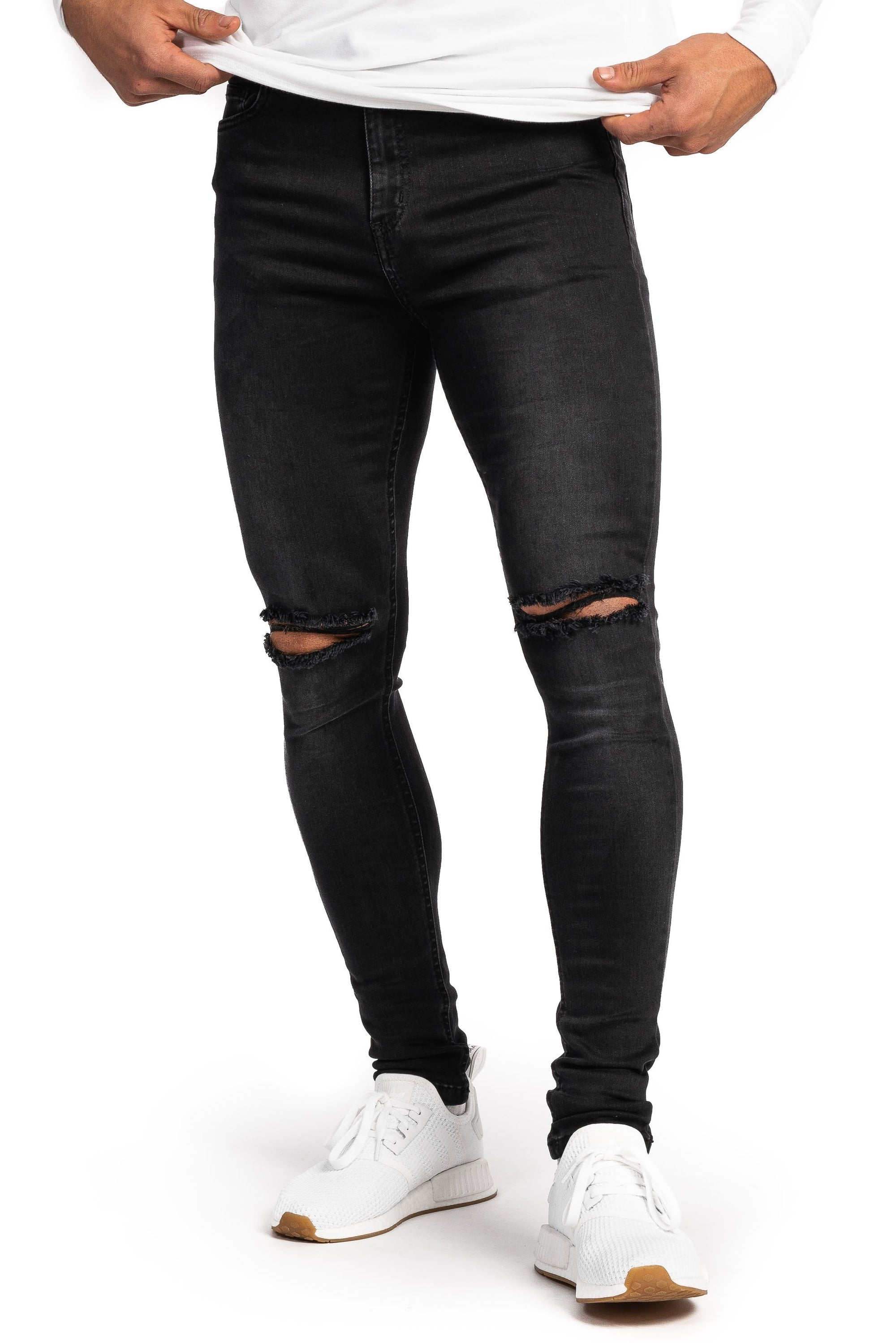Mens Regular Ripped Fitjeans - Grey Shade
