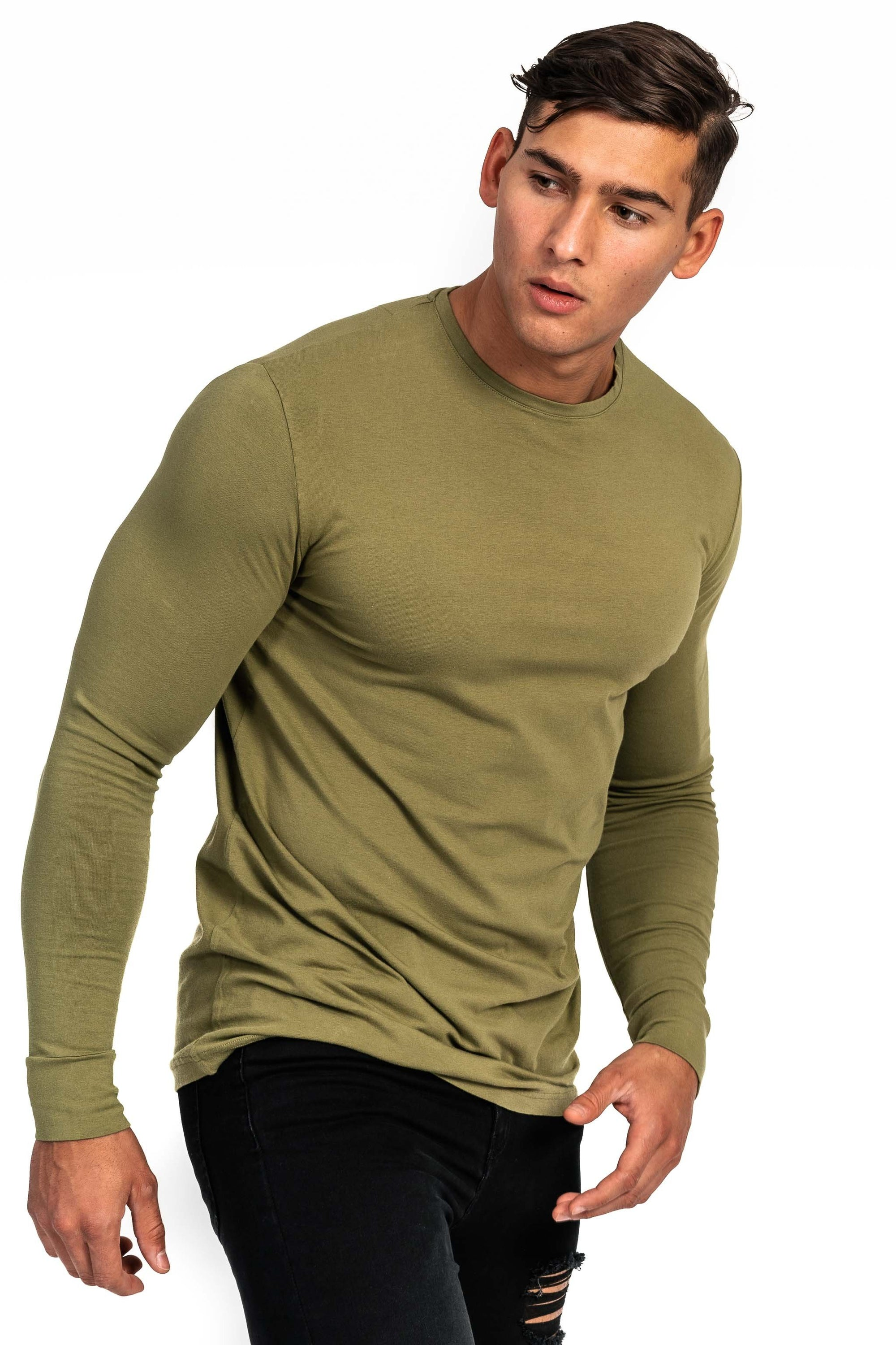 Mens Long Sleeve T Shirt - Khaki