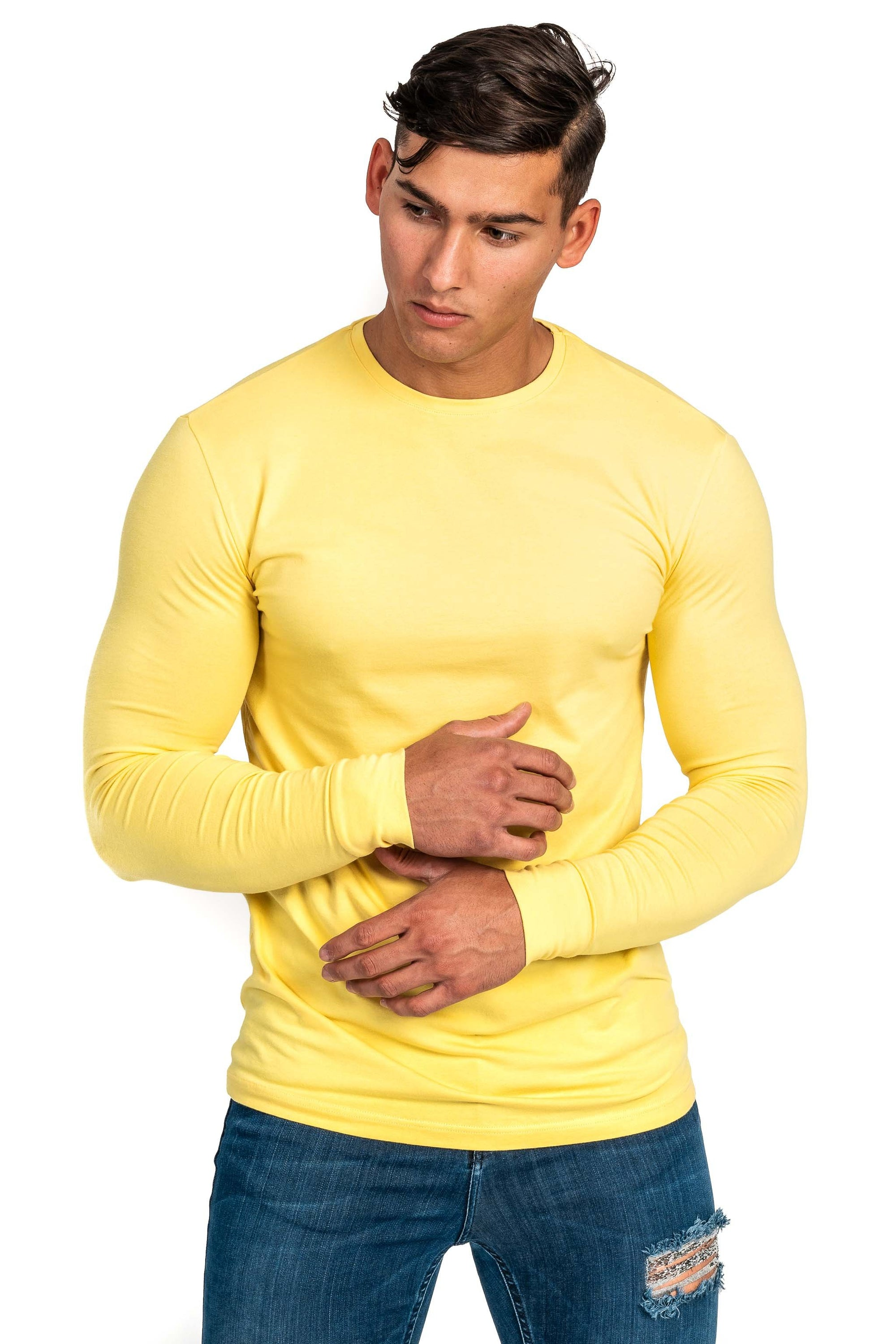 Mens Long Sleeve T Shirt - Aspen Yellow
