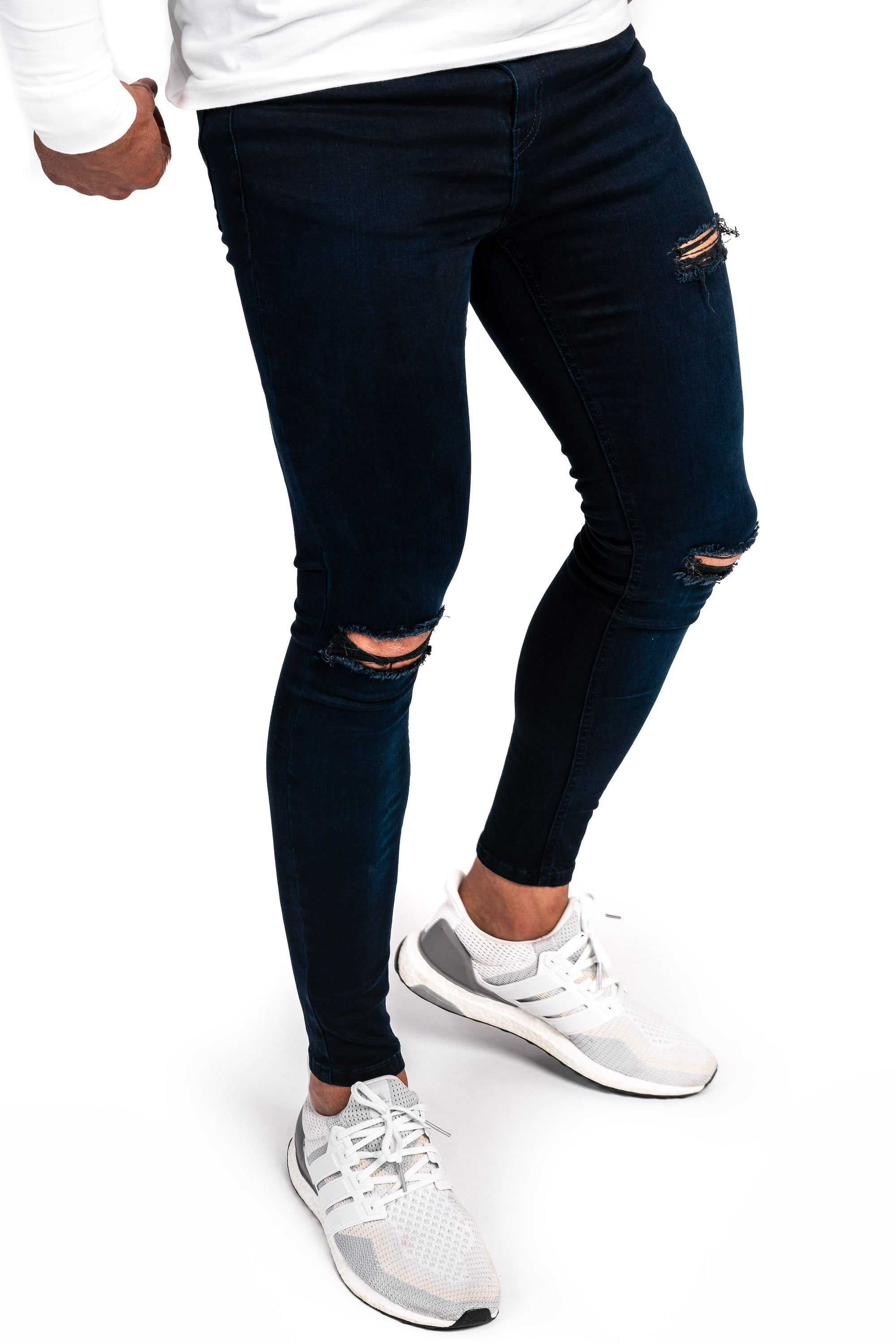 Mens Regular Ripped Fitjeans - Black Blue