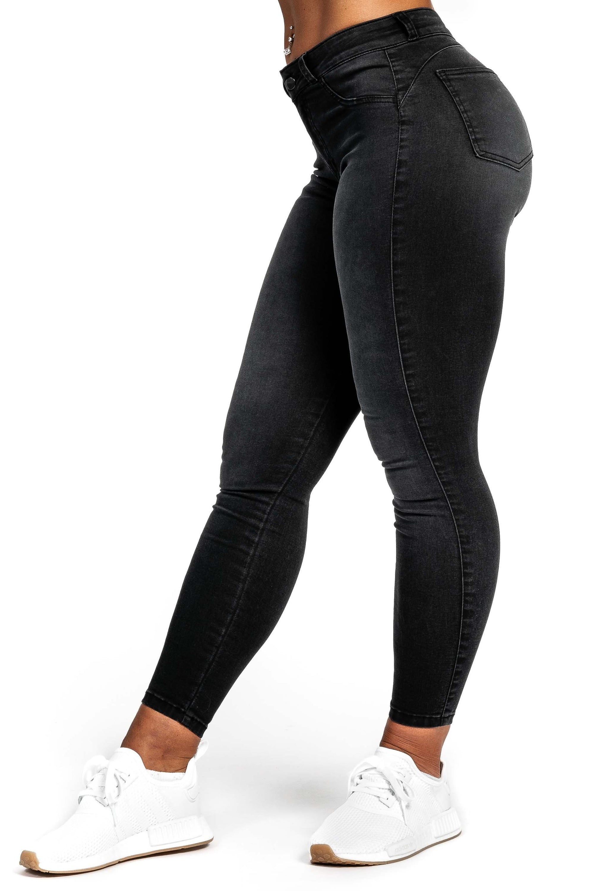 Womens Contour Mid Waisted Fitjeans - Grey