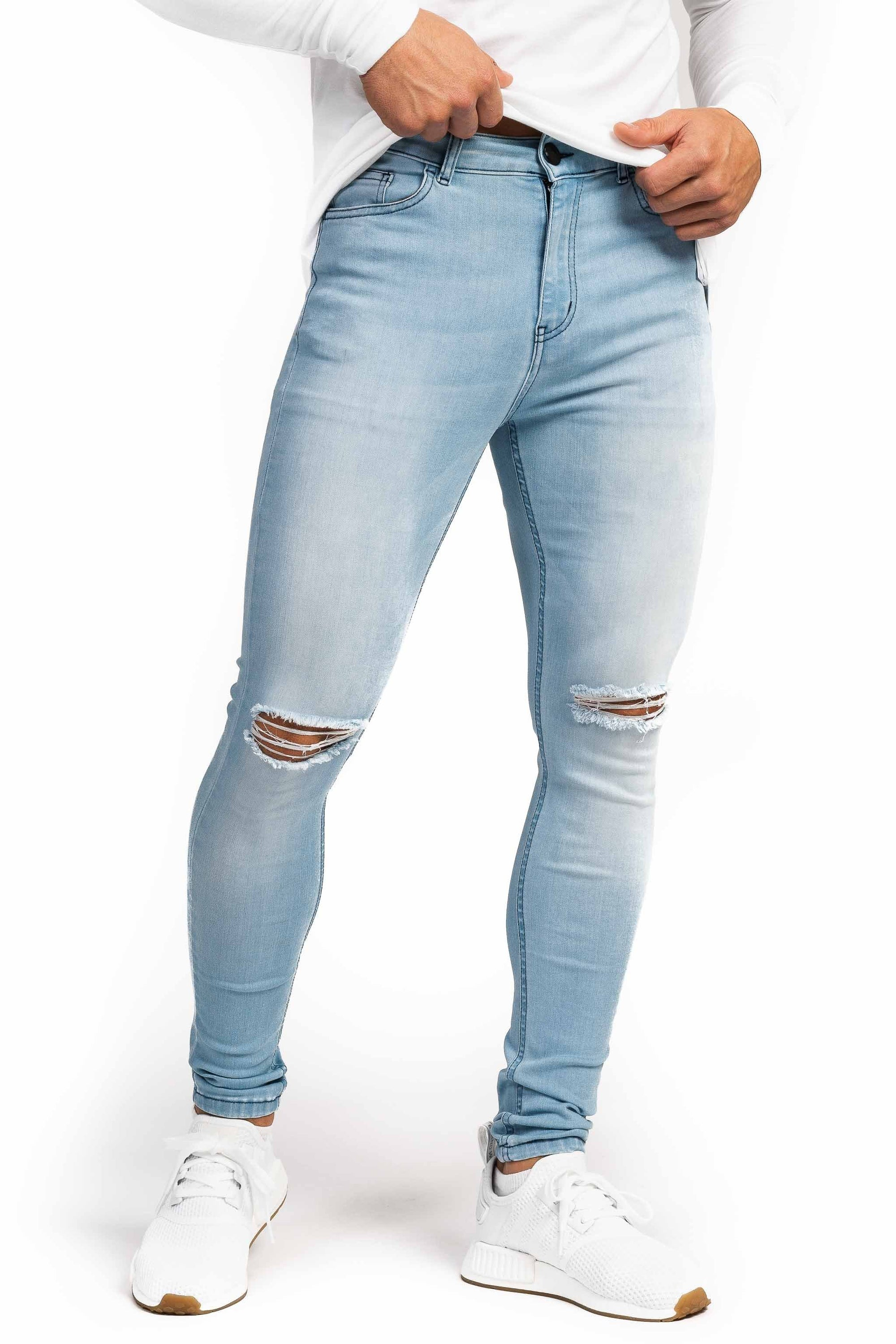 Mens Regular Ripped Fitjeans - Bleach Blue