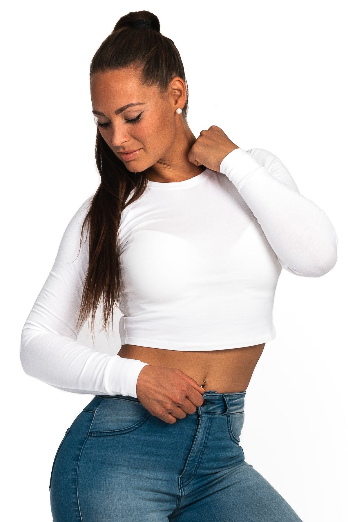 Womens Long Sleeve Crop Top - White