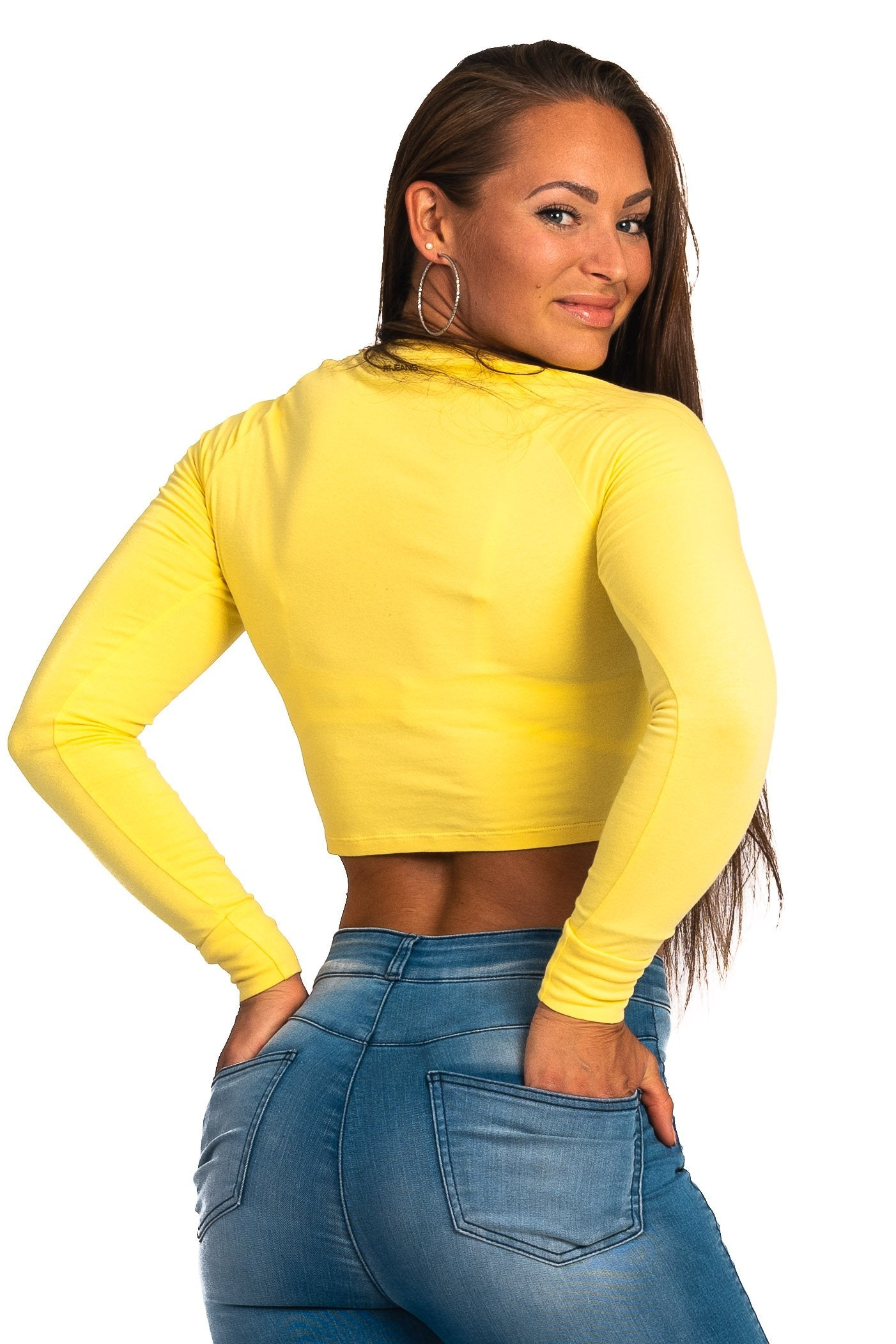 Womens Long Sleeve Crop Top - Aspen Yellow