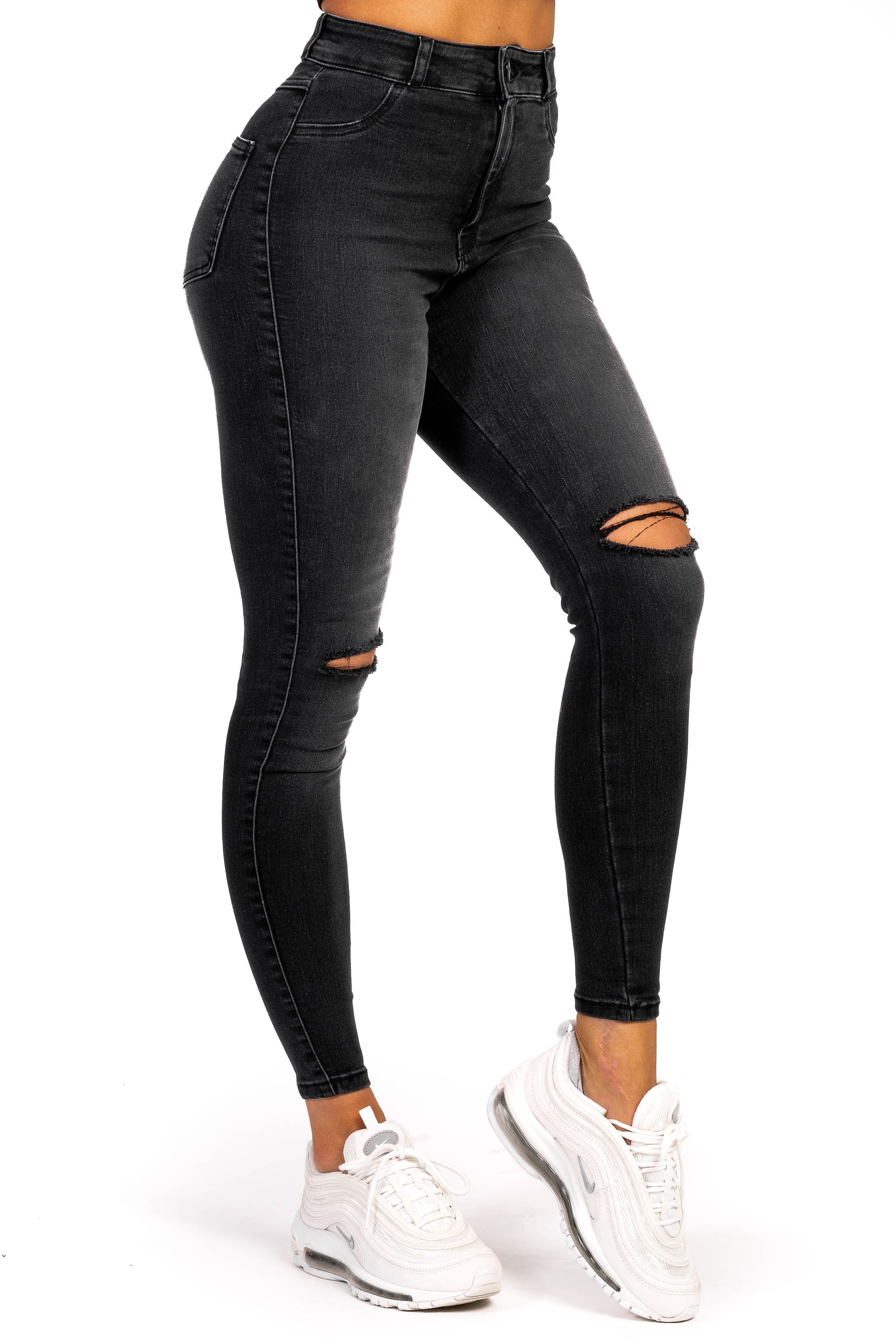 Womens Traditional Ripped High Waisted Fitjeans - Shaded Grey