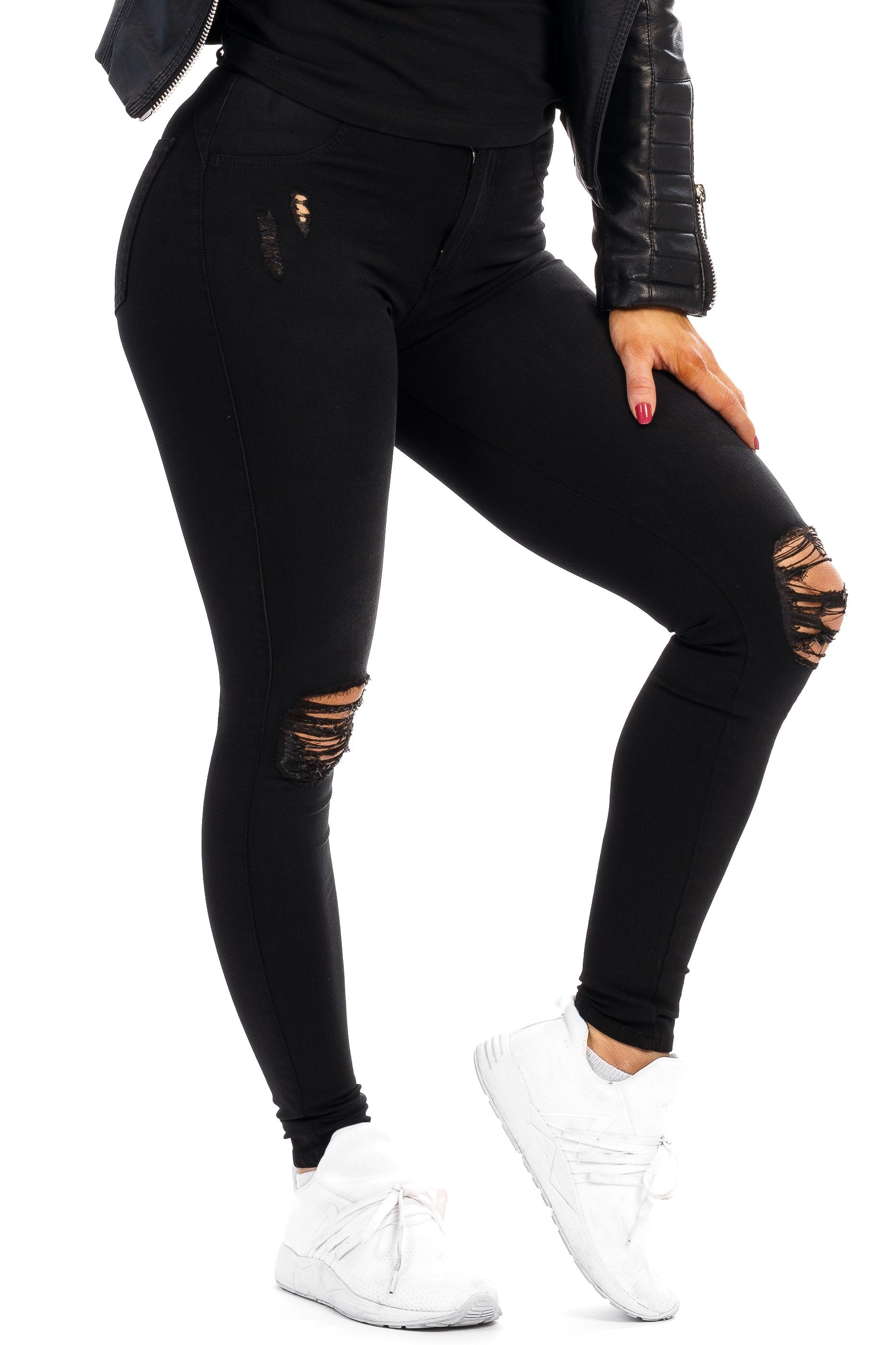 Womens 360 Ripped Mid Waisted Fitjeans - Black
