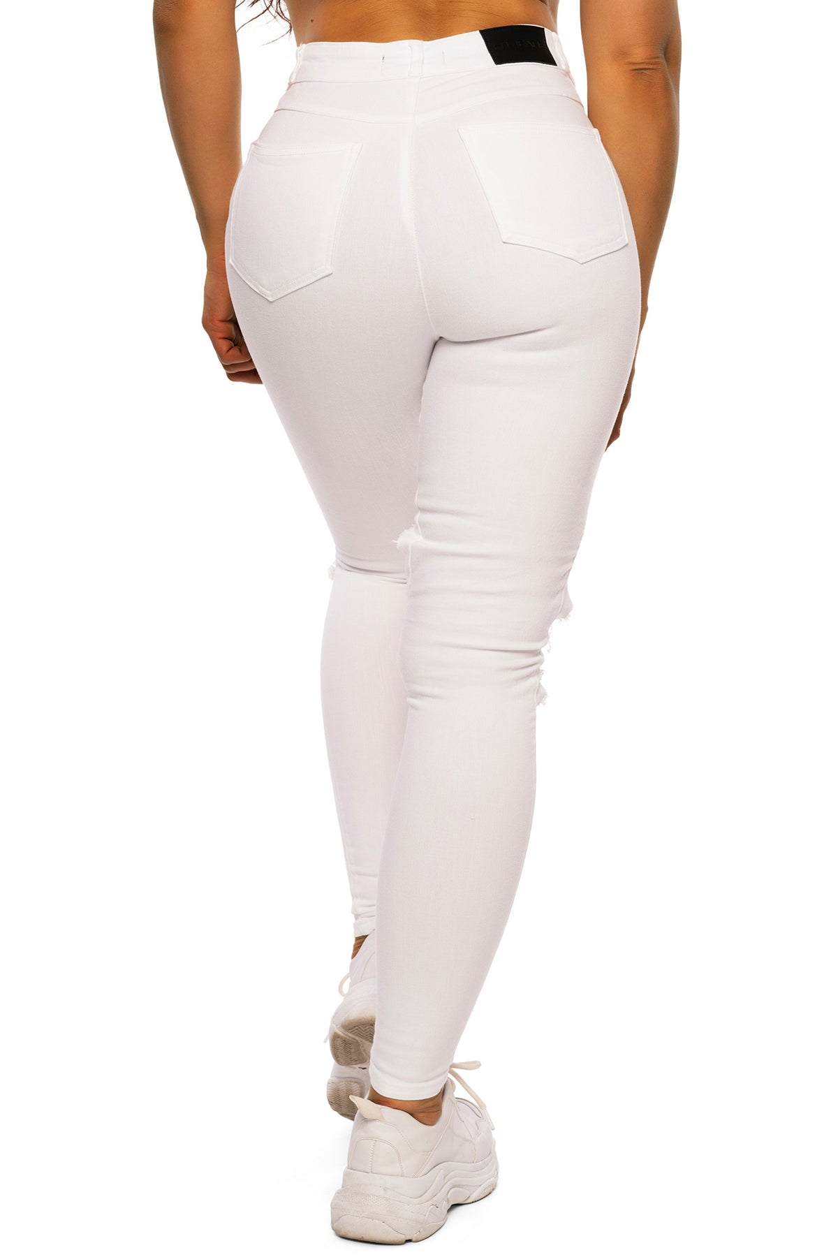 Womens Regular Pastel Super Ripped High Waisted Fitjeans - White