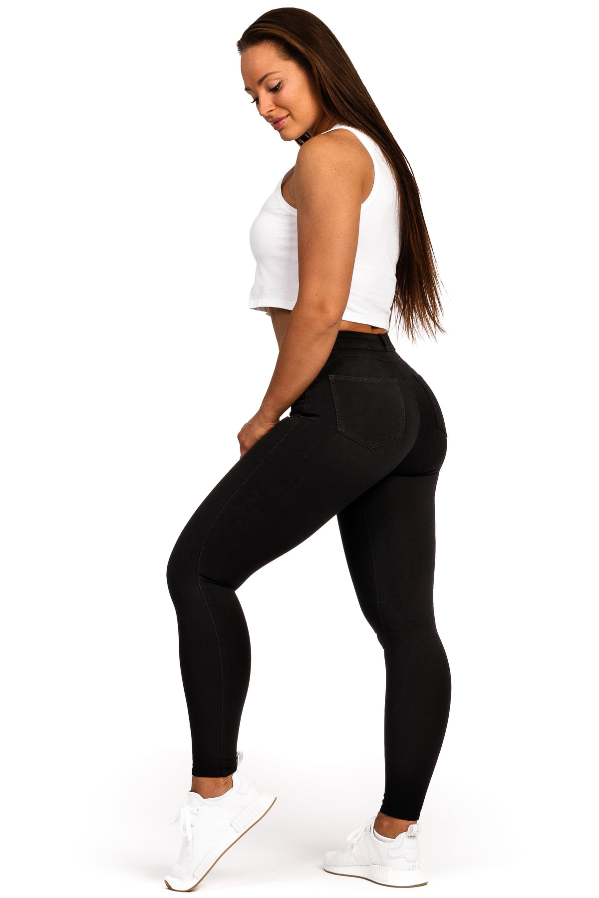 Womens 360 Light Mid Waisted Fitjeans - Black
