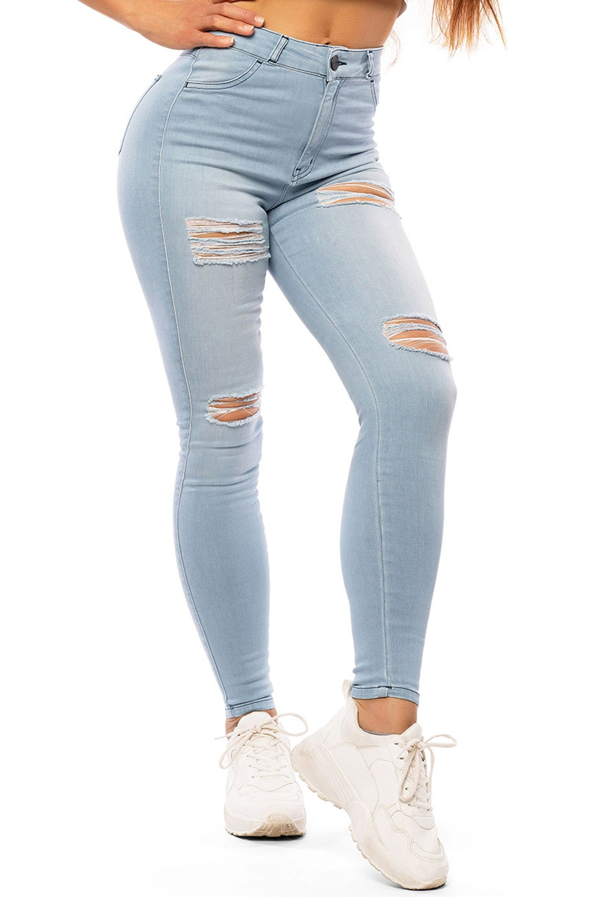 Womens Regular 4 Hole Ripped High Waisted Fitjeans - Bleach Blue