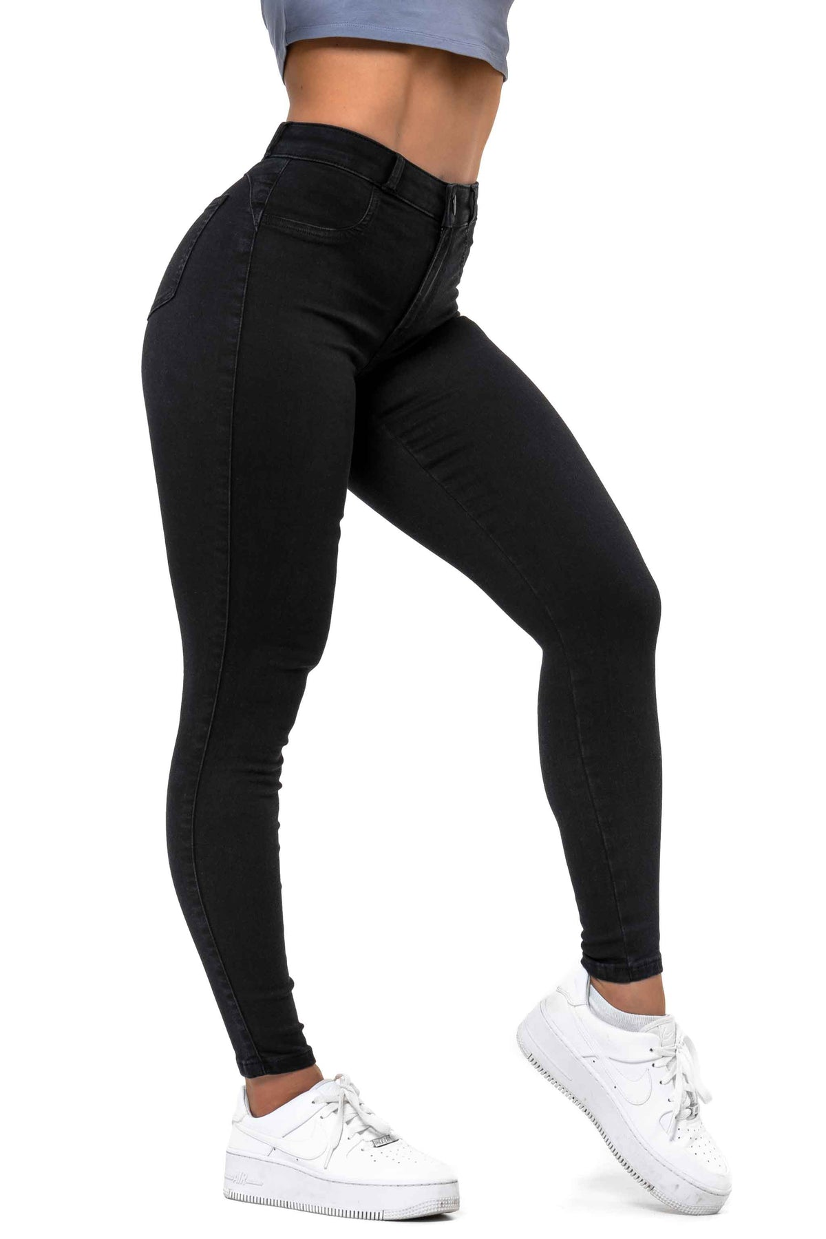 Womens Contour V2 Mid Waisted Fitjeans - Black