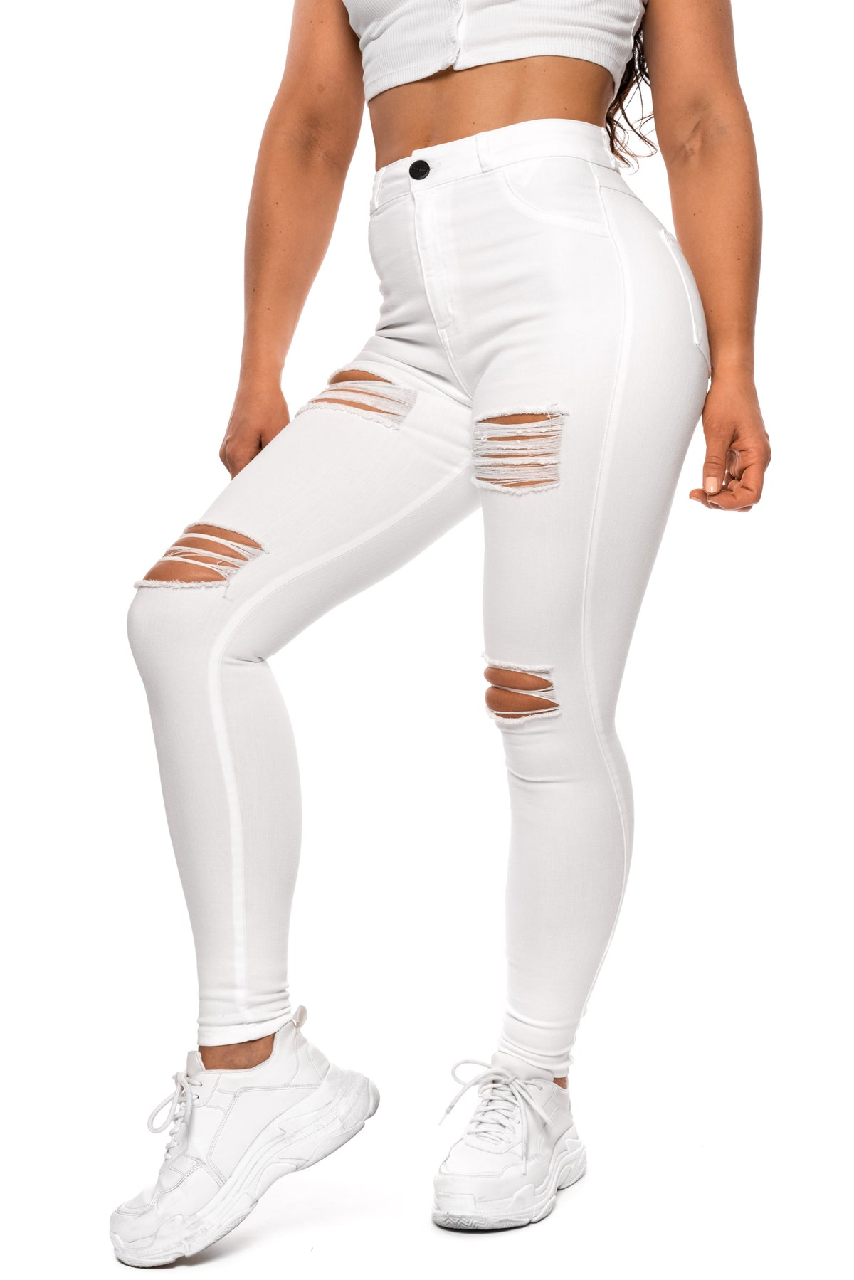 Womens Regular Pastel 4 Hole Ripped High Waisted Fitjeans - White
