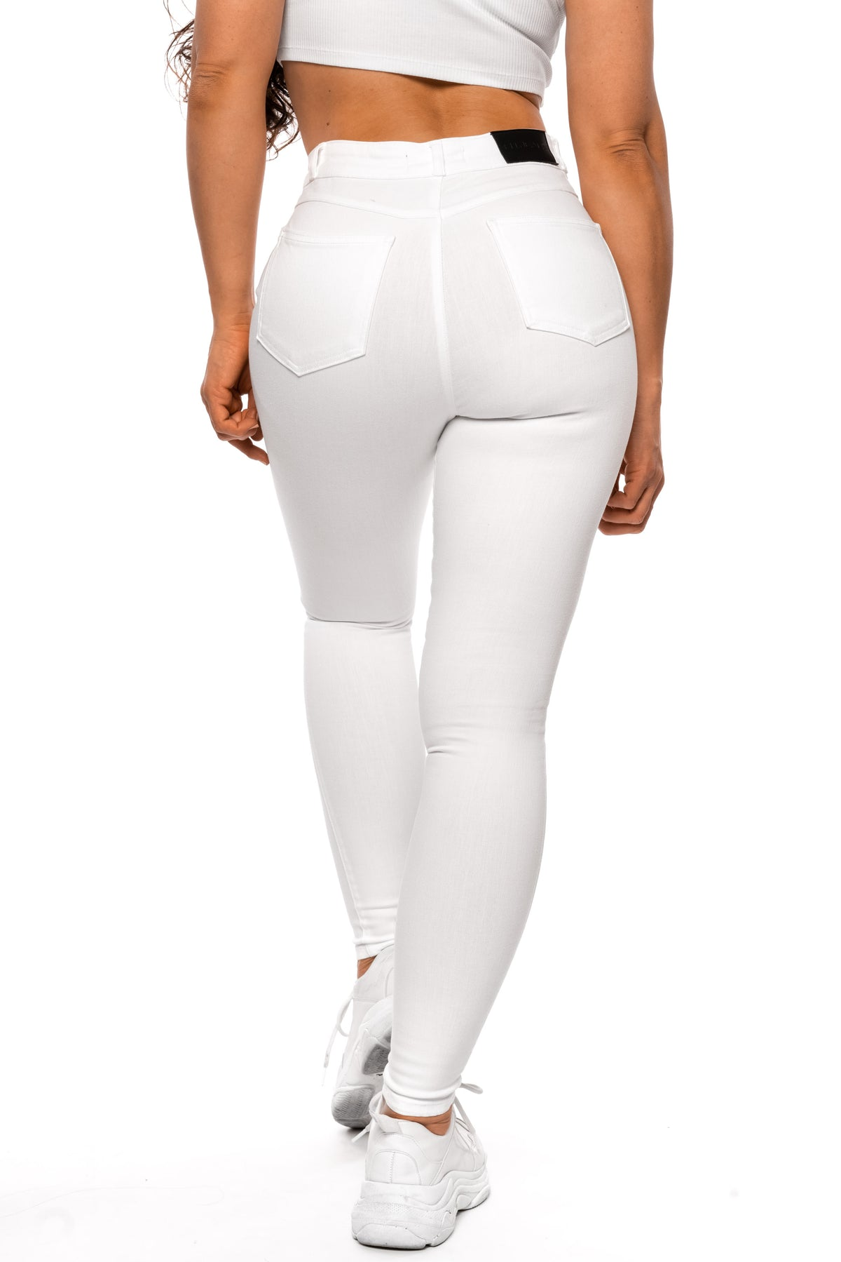Womens Regular Pastel High Waisted Fitjeans - White