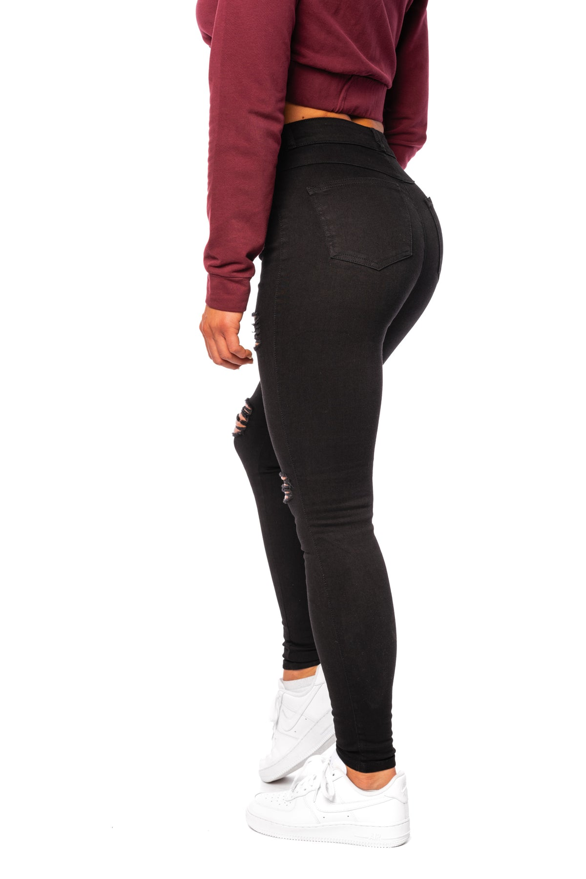 Womens Regular 4 Hole Ripped High Waisted Fitjeans - Black