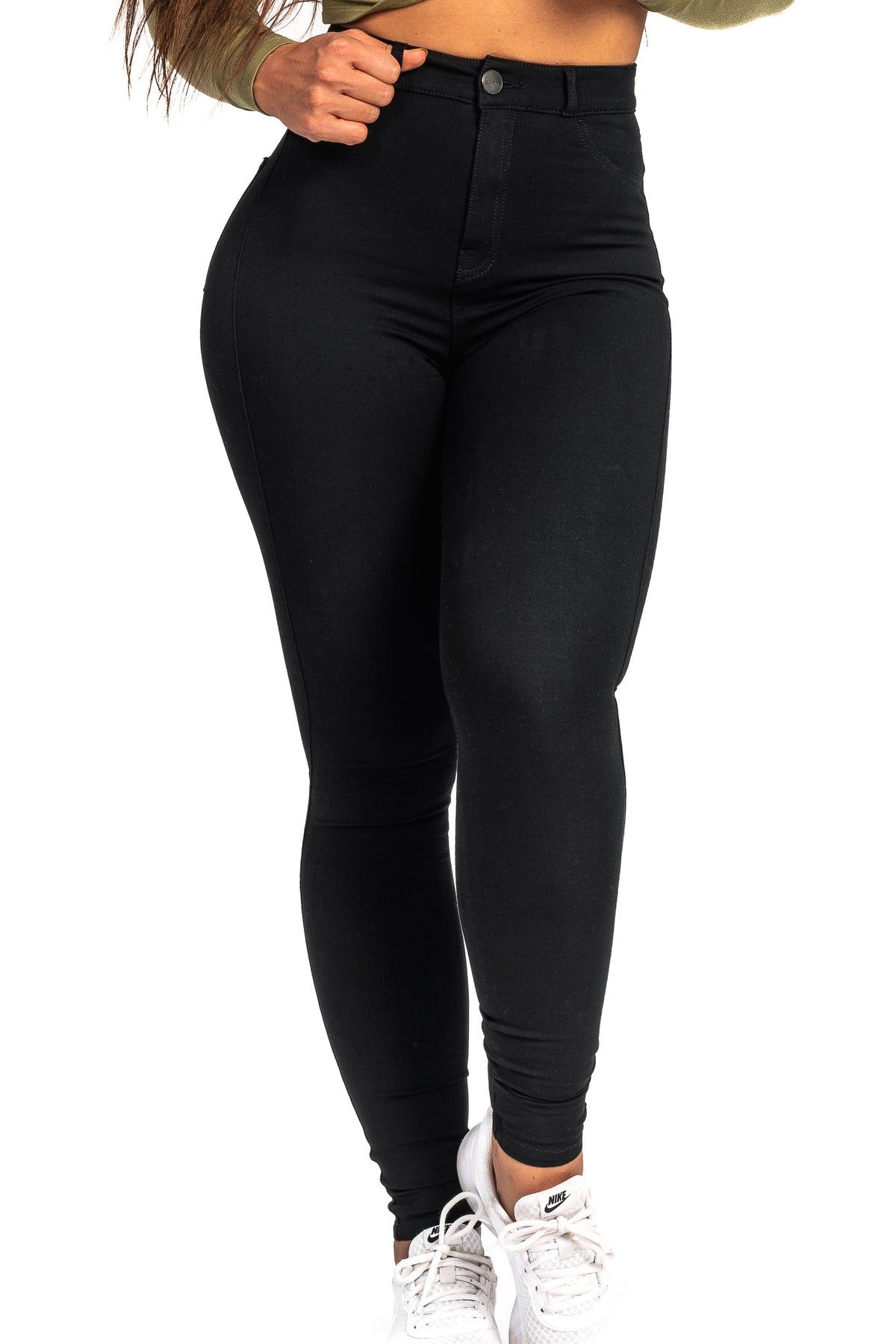 Womens 360 Light High Waisted Fitjeans - Black