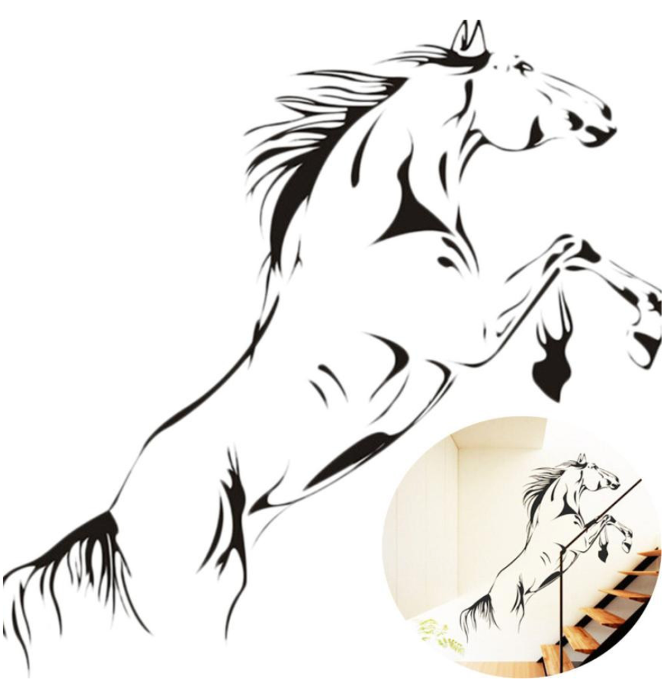 Black Galloping Horse Removable Vinyl Wall Sticker Decal for Home Decor