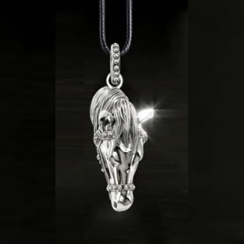 Unisex Vintage Horse Pendant on 18inch Leather Rope Necklace
