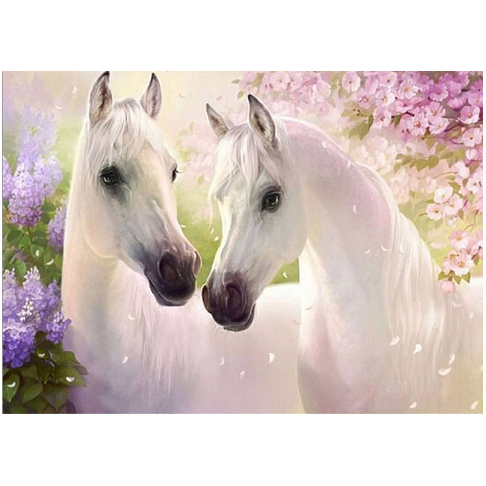 5D DIY Diamond Craft of Two White Horses for Home Decor