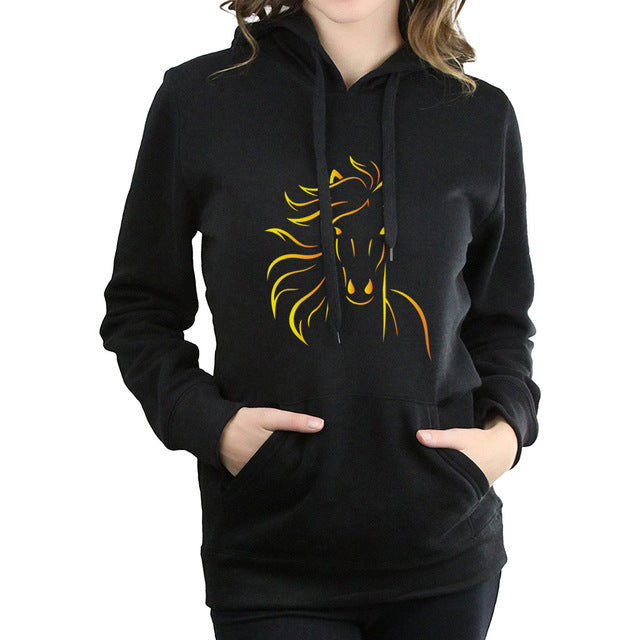 Women's Gold Horse Design Fleece Hoodies