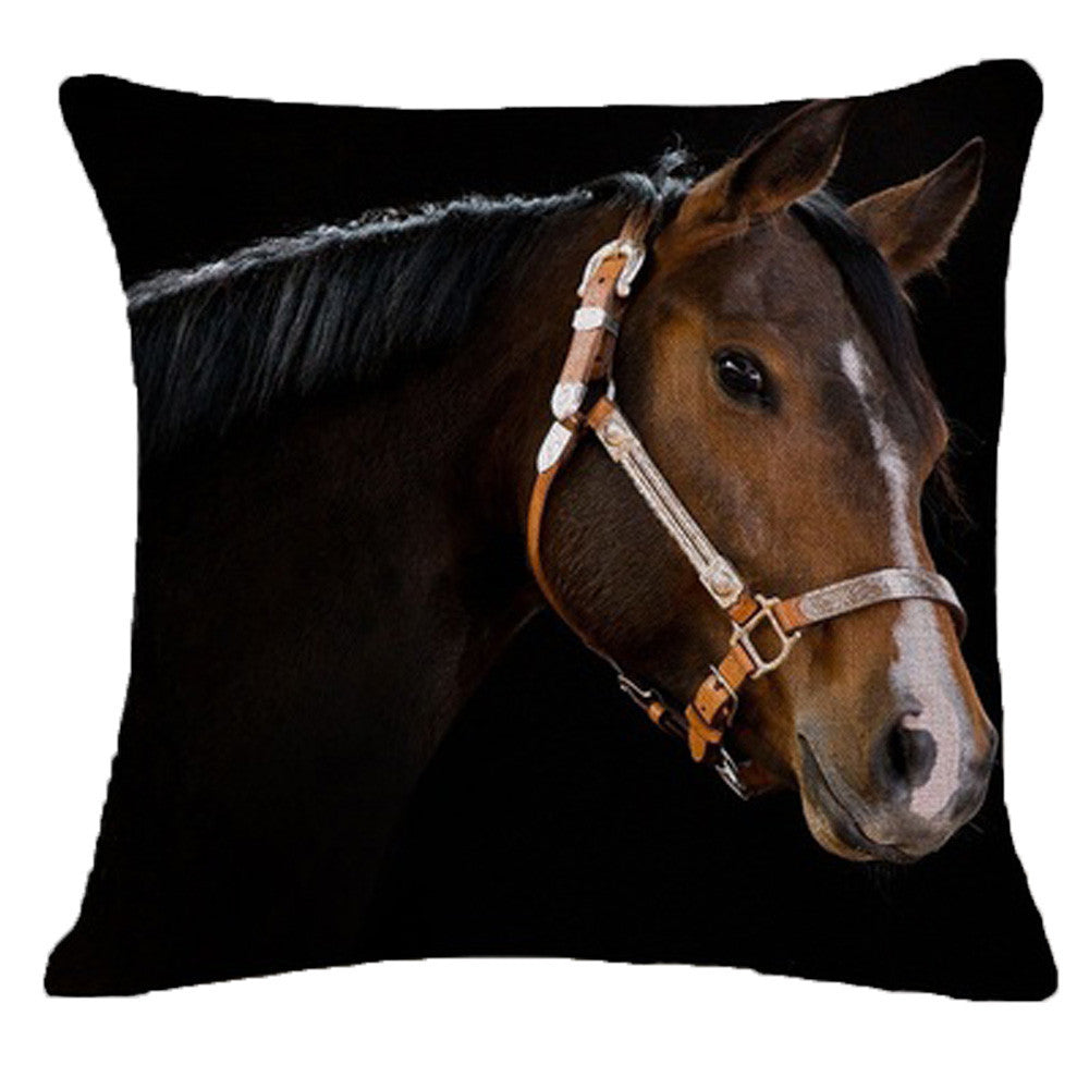 Cotton & Linen Horse Throw Pillows for Home Decor