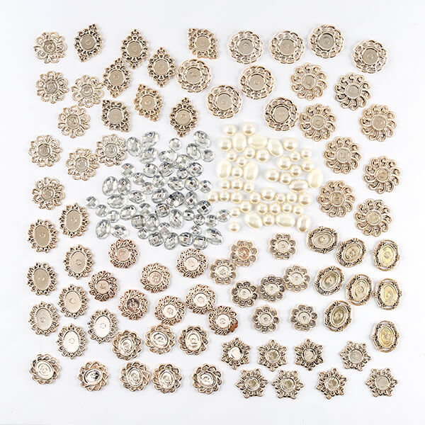 80 Brooch Frames With Pearl & Rhinestone Centers
