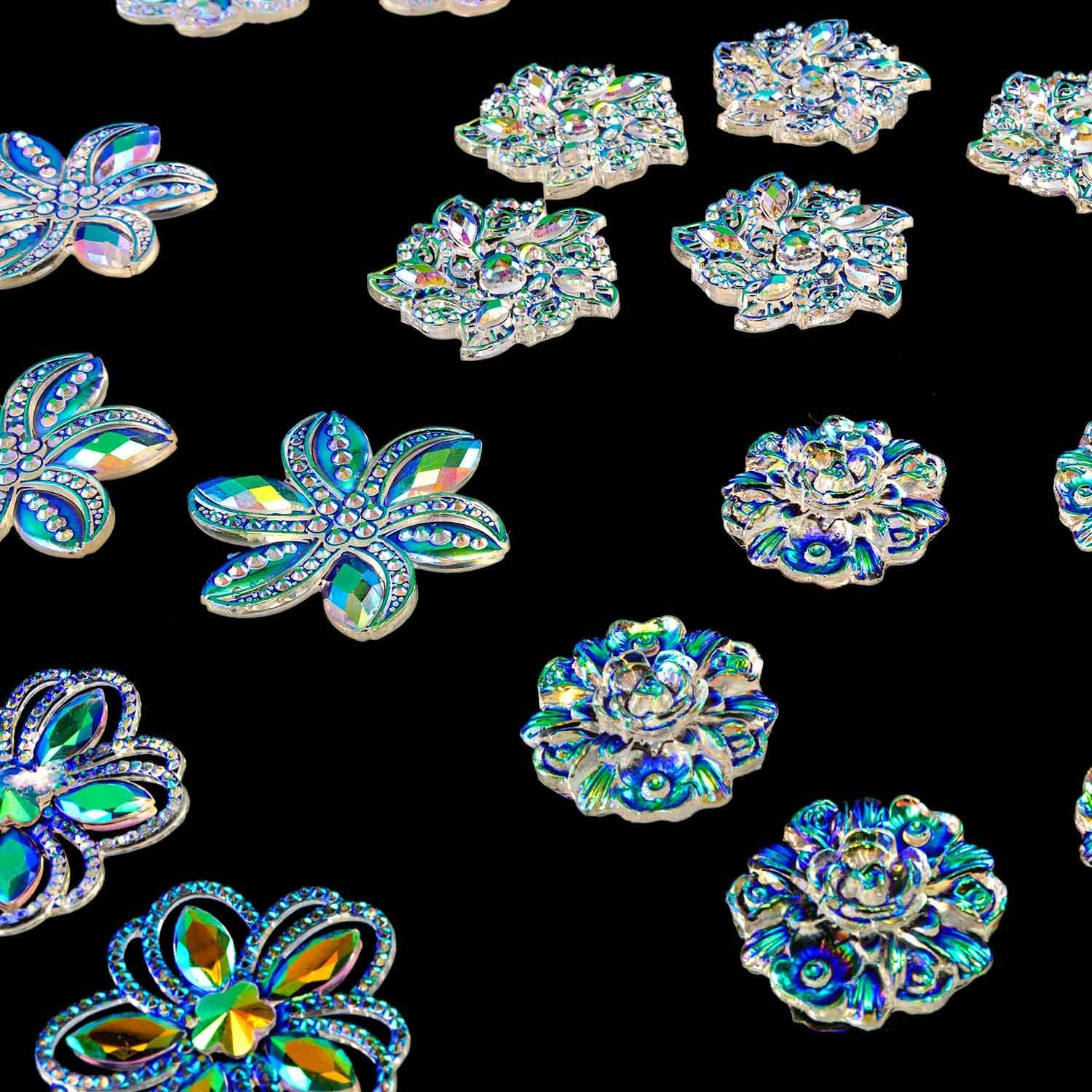 Colour me Crazy AB Clear Flower Embellishments