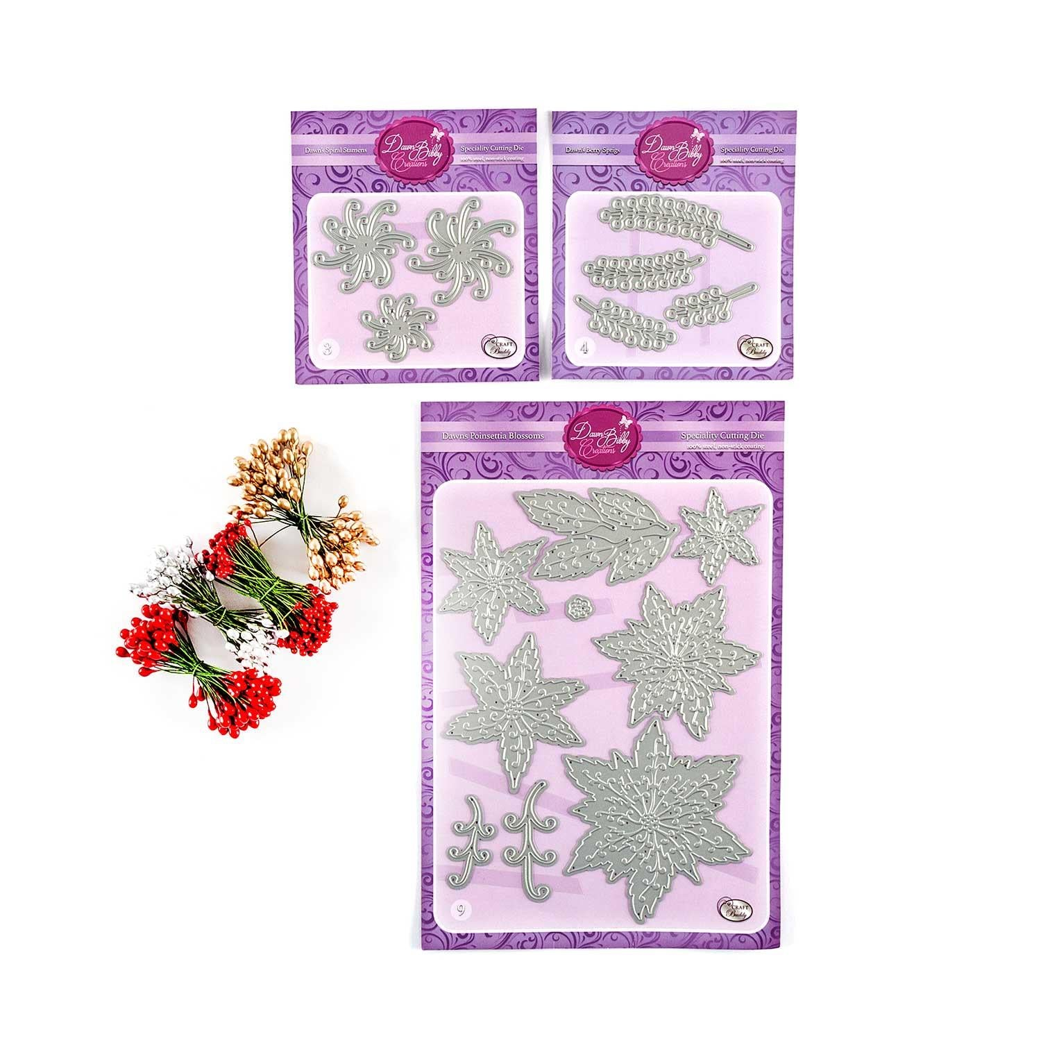 Poinsettia Die Set - 16 Dies in Total with Free Gift - 4 Bunches of Festive Flower Stamens