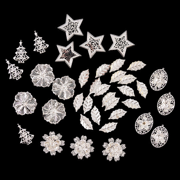 Set of 40 Metal Christmas Embellishments