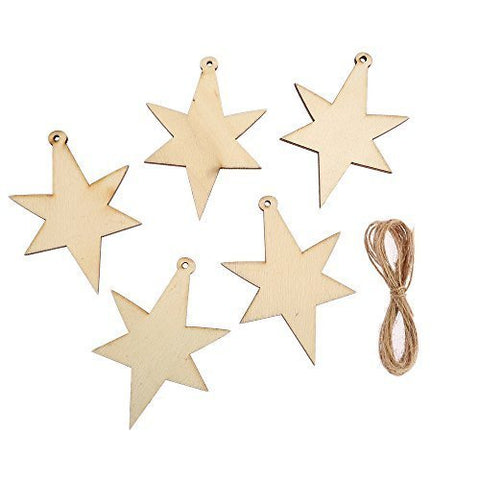 10 x Assorted MDF Wooden Christmas STAR