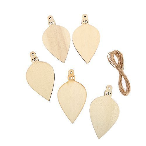 10 x Assorted MDF Wooden Christmas BAUBLE DROP