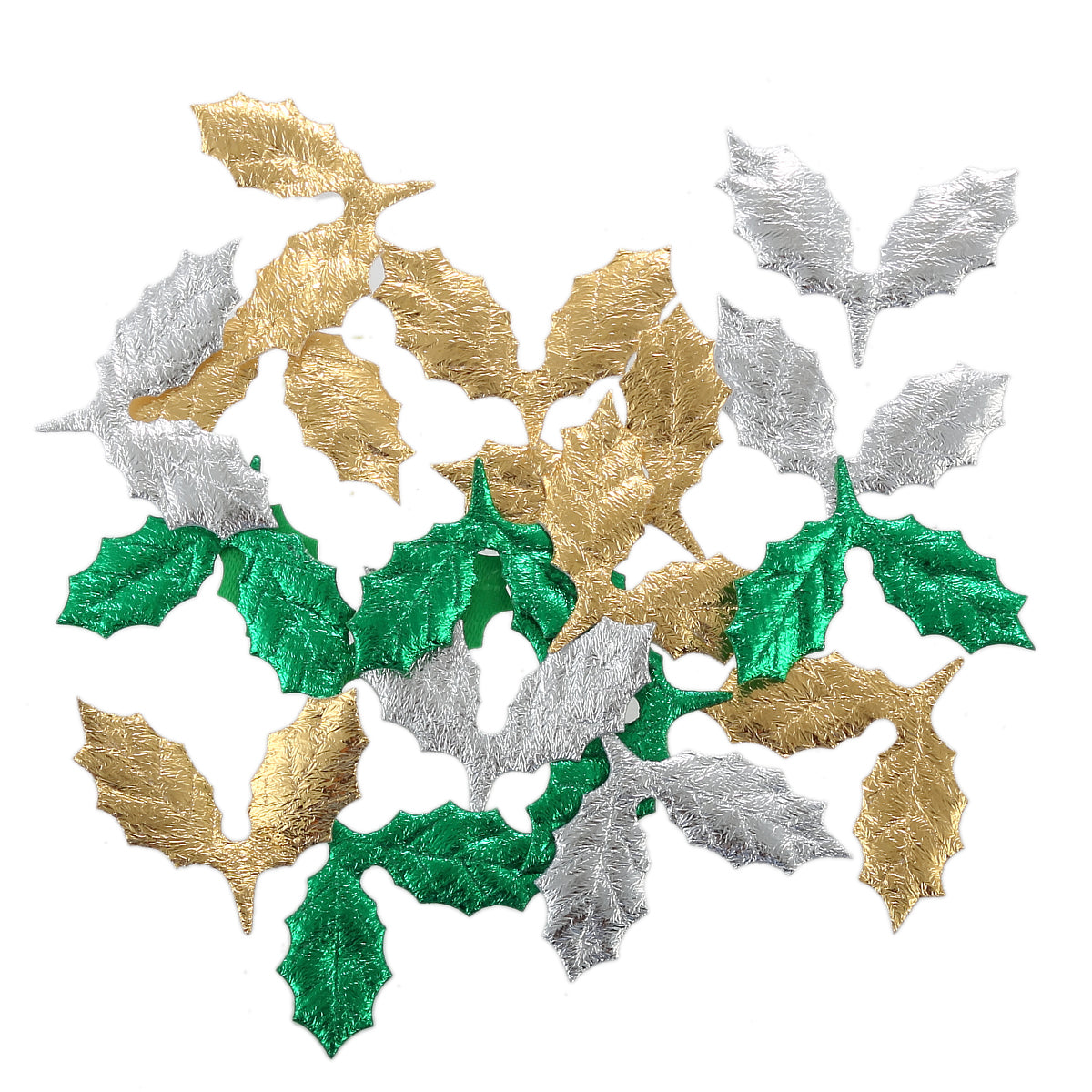 100 Metallic Fabric Holly Leaves Craft Embellishments, Gold, Silver, Green