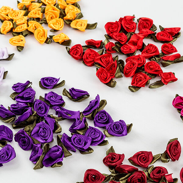 250 satin rose flowers: 10 colours 25 of each