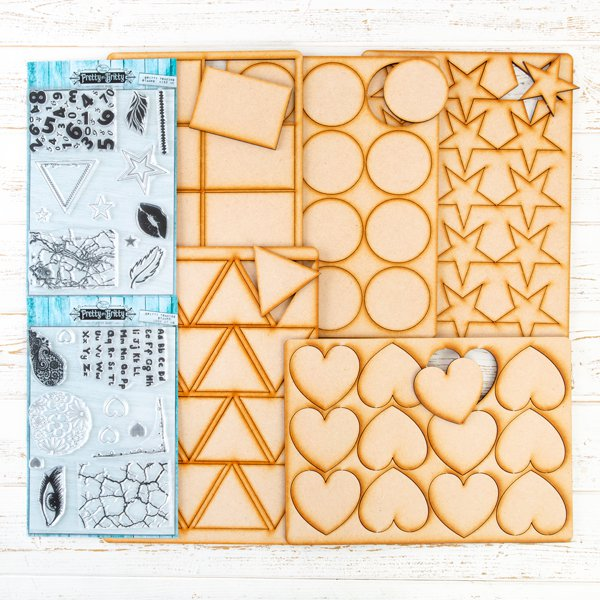 Pretty Gets Gritty -  Stamps and MDF Shapes Complete Collection