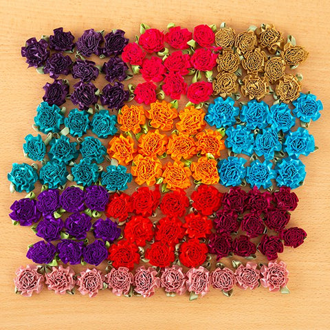 Frilly Satin Flowers - Pack of 100