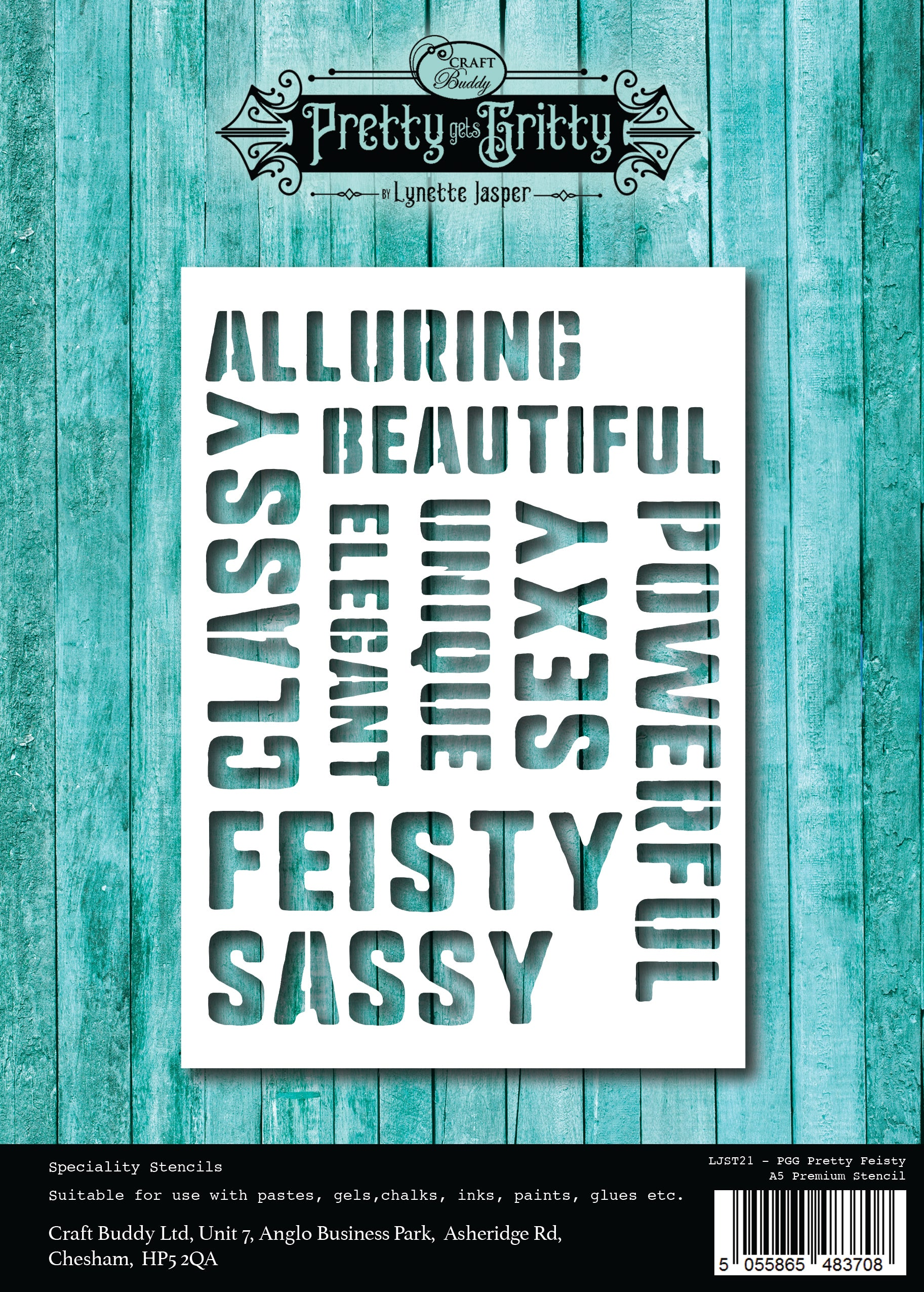 Pretty Gets Gritty A5 Stencil - Pretty Feisty