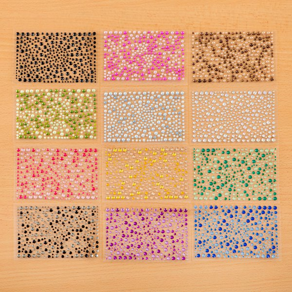 Self-Adhesive Rhinestones and Pearls Kit - 12 Assorted Packs