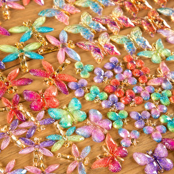 Craft Buddy Set of 120 2-Tone Acrylic Butterflies, Dragonflies and Insects