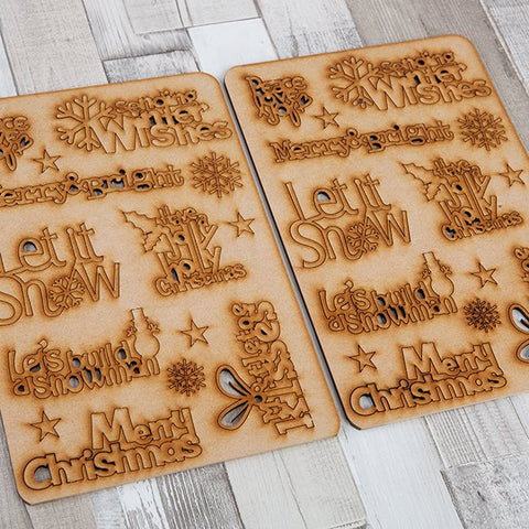 Craft Buddy Set of 2 Winter Wishes MDF Sentiments