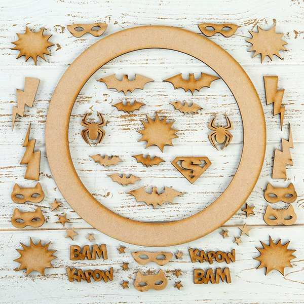 Pretty Gets Gritty MDF Buildable Wreath Kits - Superheroes