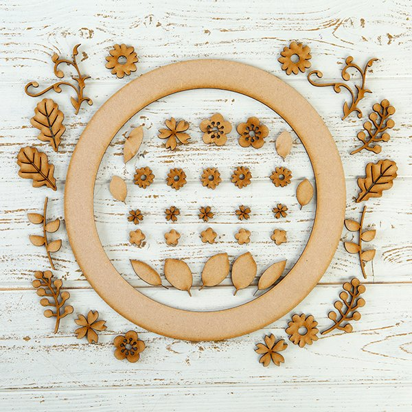 Pretty Gets Gritty MDF Buildable Wreath Kits - Floral Blossoms