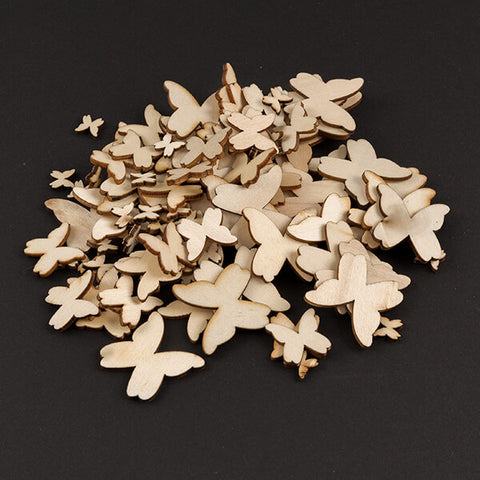 100pcs Mixed Size Wooden Butterflies