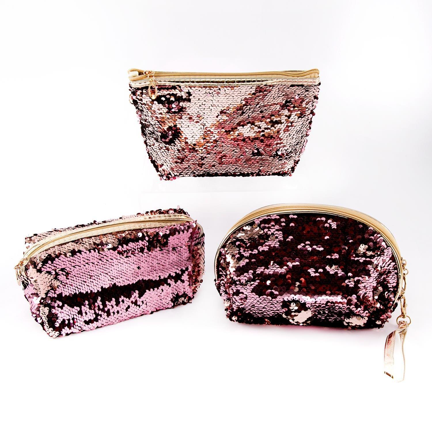 Set of 3 Magic Sequin Storage Pouches In Assorted Styles - Pink Collection