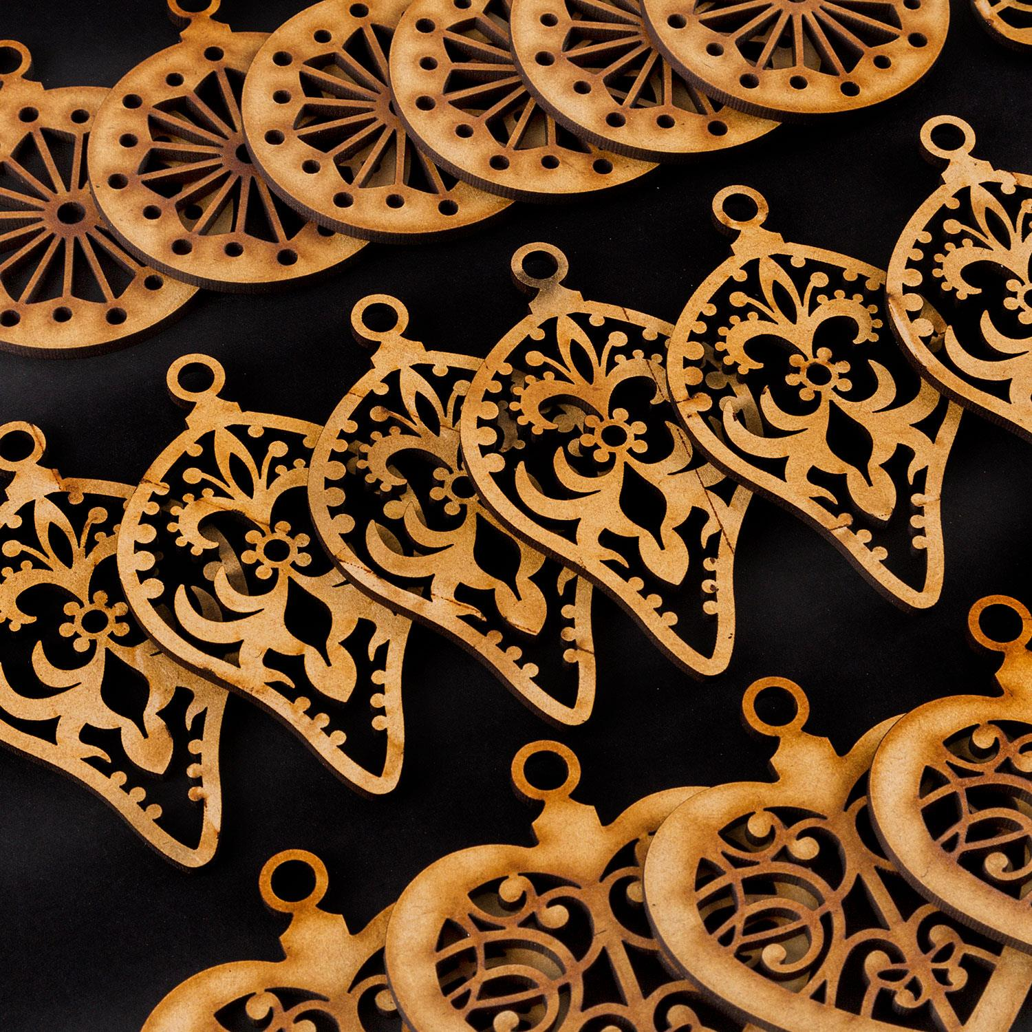 Set of 48 Laser Cut MDF Beautiful Baubles