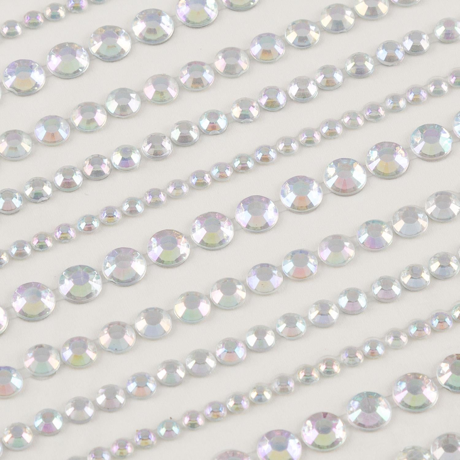 6 sheets of AB and Clear Mixed Size Rhinestone Strips