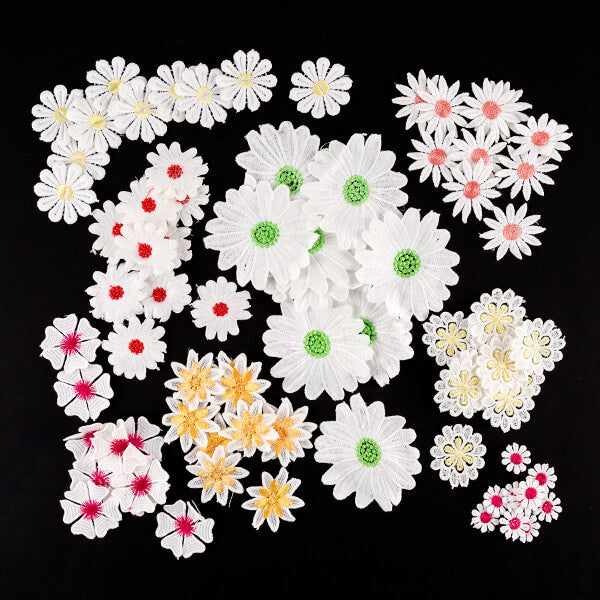 80 Colored Center Lace Flowers