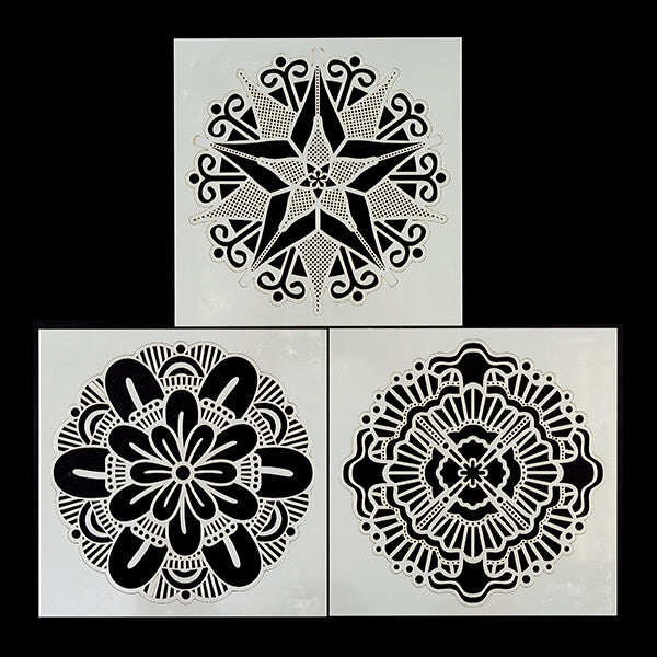 "Set of 3 8x8"" Mandala Stencils"
