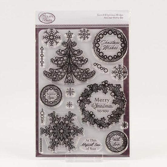 Gem It - Christmas Wishes A5 Clear Stamp Set