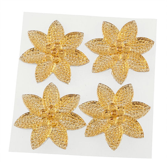 Gold Crystal Pretty Petal Self Adhesive Gems (DBG02-G)