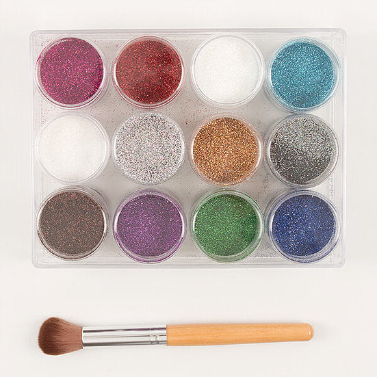 12 X 12G Pots Of Luxury Holographic Glitter With Brush