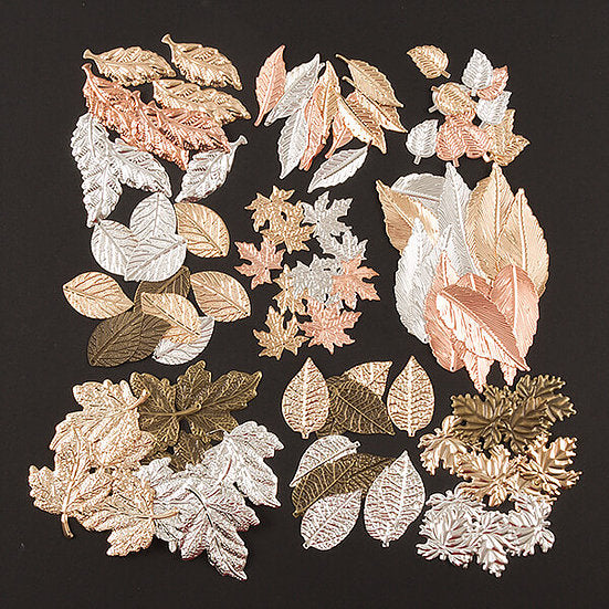 108pcs Autumn Leaves Metal Embellishment Collection