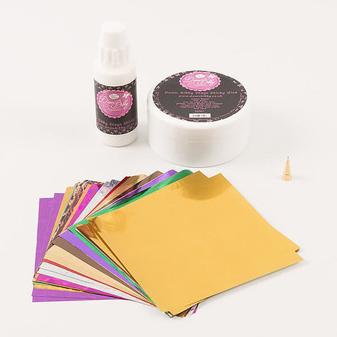 Transfer Foil Kit - 100 Assorted Foil Sheets & Foiling Glue